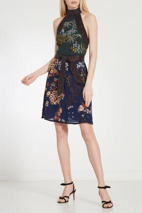 Платье с принтом и блестящей отделкой