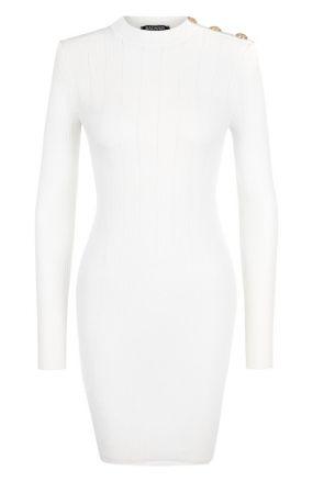 Шерстяное мини-платье с декоративными пуговицами Balmain