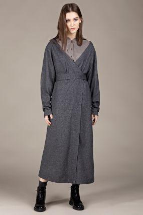 Платье-кардиган Черешня шерстяное с открытыми плечами на запахе темно-серое (38-42)