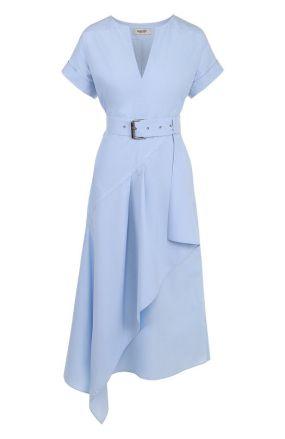 Хлопковое платье асимметричного кроя с поясом Rachel Comey