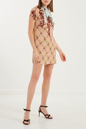 Платье с цветочным принтом и фактурной отделкой