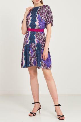 Короткое платье с принтом и оборкой