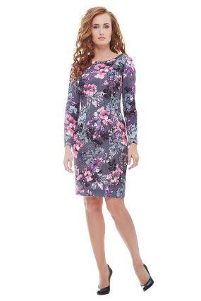 Платье MAXIM 674 цвет серый-розовый