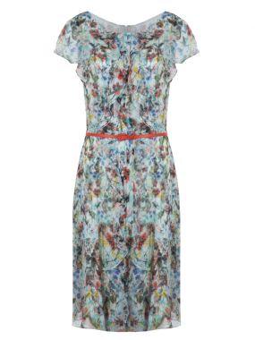 Шелковое платье с поясом