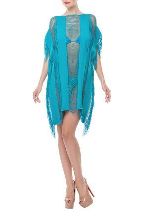 Голубое пляжное платье с отделкой