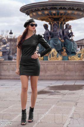 Кожаное платье-мини