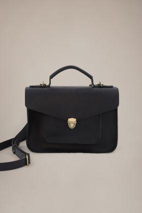 Портфель Черешня Mini из кожи с винтаж-эффектом черный (One Size)