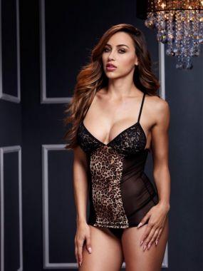 Черная сорочка Baci White Label с леопардовой вставкой и подвязками для чулок – One Size