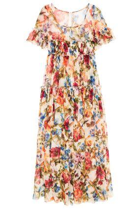 Платье из цветного шелка с воланами