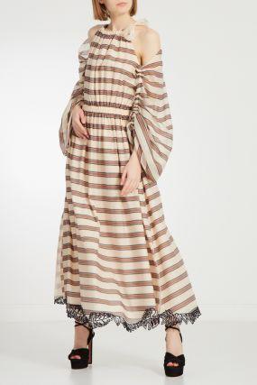 Бежевое платье в полоску