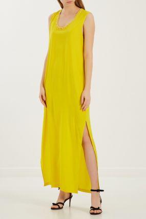 Шелковое платье лимонного цвета