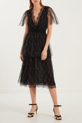 Полупрозрачное платье с принтом