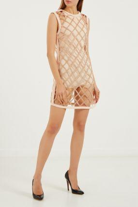 Двуслойное мини-платье телесного цвета