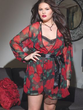Коротенький халатик Coquette с красным розами – Queen Size