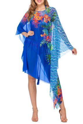 Платье-накидка с асимметричным принтом