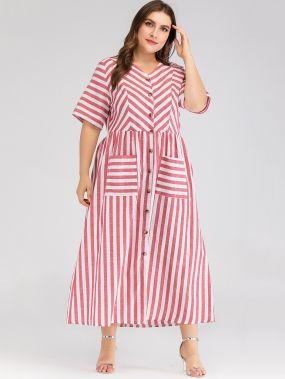 Платье-рубашка в полоску с карманом размера плюс