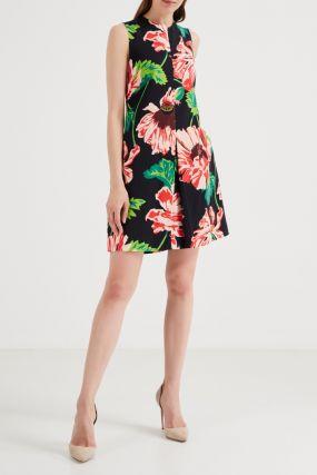Платье мини с крупным цветочным принтом