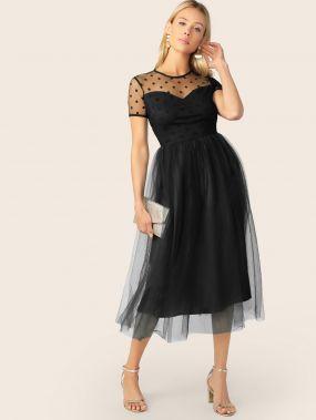 Вечернее Платье Из Черного Фатина На Подкладке
