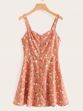 Платье с завязкой, пуговицами и цветочным принтом