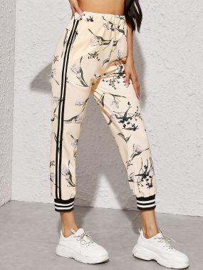 Спортивные брюки с цветочным принтом и полосками
