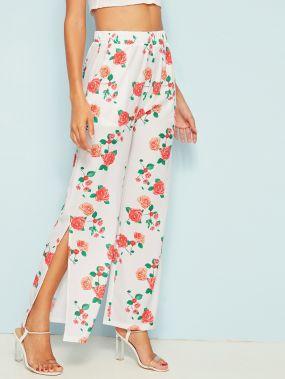 Широкие брюки с разрезом сбоку и цветочным принтом