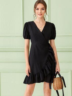 Асимметричное платье с пышными рукавами