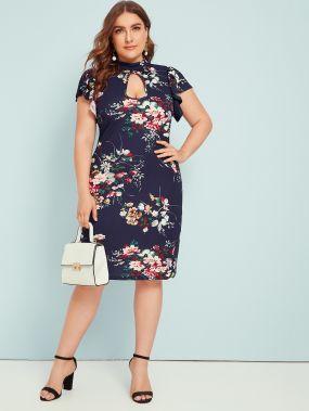 Платье с цветочным принтом и оборкой размера плюс