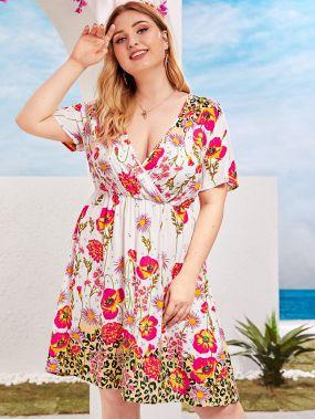 Цветочное платье размера плюс с леопардовым принтом