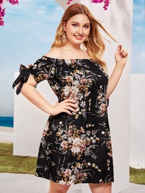 Платье с цветочным принтом, узлом и открытым плечом размера плюс