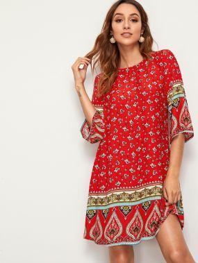 Платье с цветочным и графическим принтом