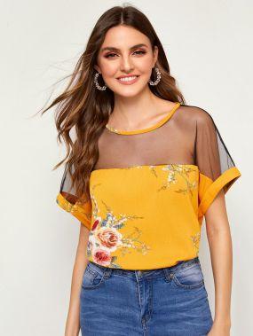 Прозрачная блузка с цветочным принтом