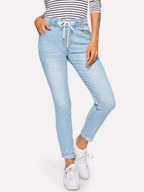 Обтягивающие джинсы с кулиской на талии