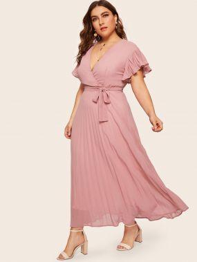 Размер плюс платье со складками и глубоким вырезом