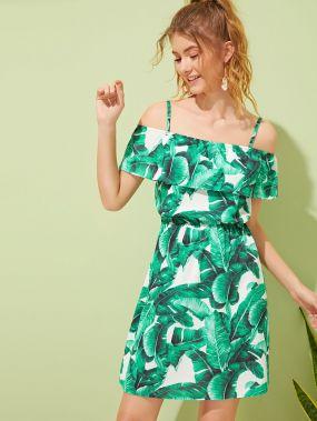Платье с открытыми плечами и тропическим принтом