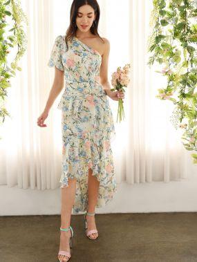 Асимметричное платье с оборкой и цветочным принтом