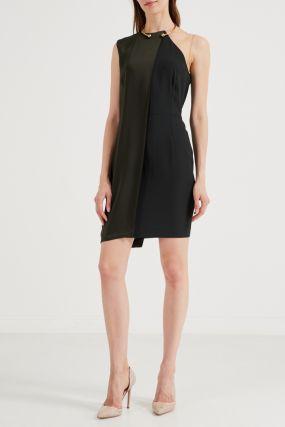 Асимметричное зелено-черное платье