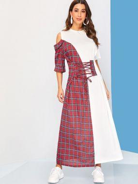 Платье в клетку на кулиске с открытыми плечами
