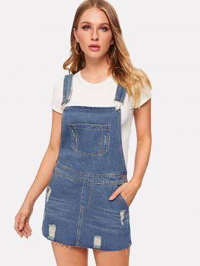 Синие с карманами Одноцветный Стиль кэжуал Джинсовые платья