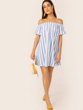 Полосатое платье с открытым плечом
