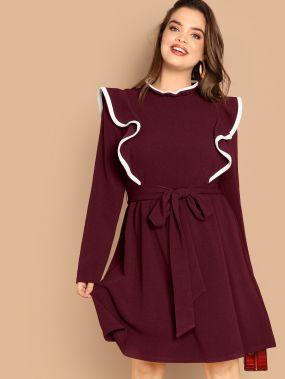 Размер плюс платье на застежке сзади с поясом