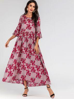 Длииное платье с цветочным принтом