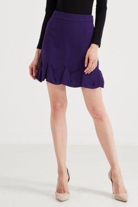 Фиолетовая мини-юбка с фестонами