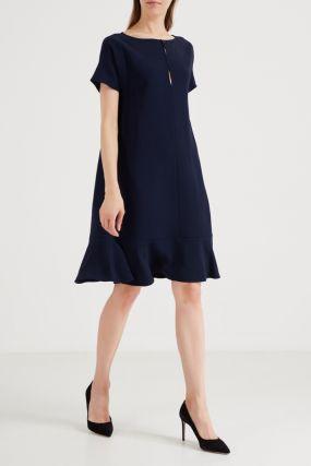 Темно-синее платье с коротким рукавом