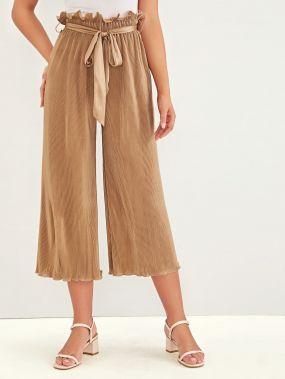 Широкие плиссированные брюки с поясом