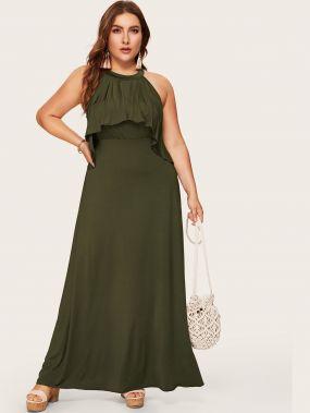 Размера плюс однобортное платье с застёжкой сзади и оборкой