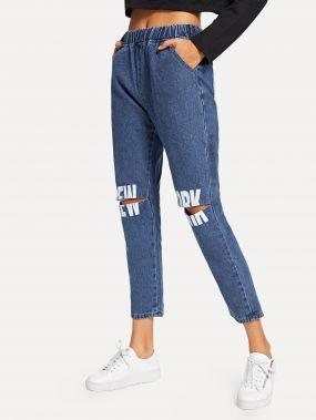Полотняные джинсы с рисунками буквы