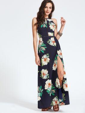 Тёмно-синее модное платье с цветочным принтом и открытой спиной