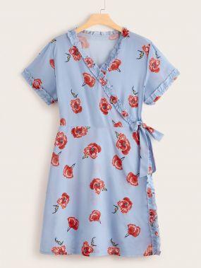 Платье с цветочным принтом и узлом сбоку размера плюс