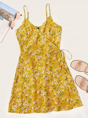 Платье с узлом и цветочным принтом