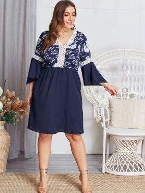 Размер плюс кружевное платье с цветочным принтом